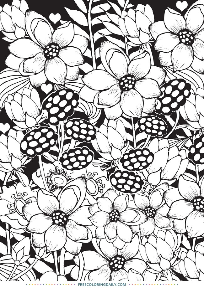 Free Floral Design Coloring Page
