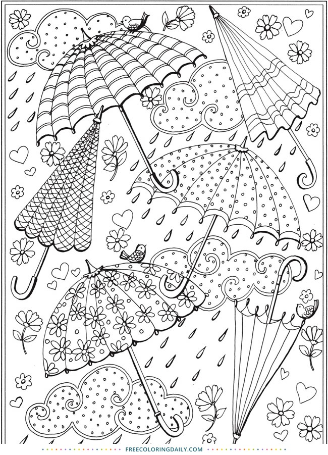 Umbrellas & Raindrops Free Coloring Sheet