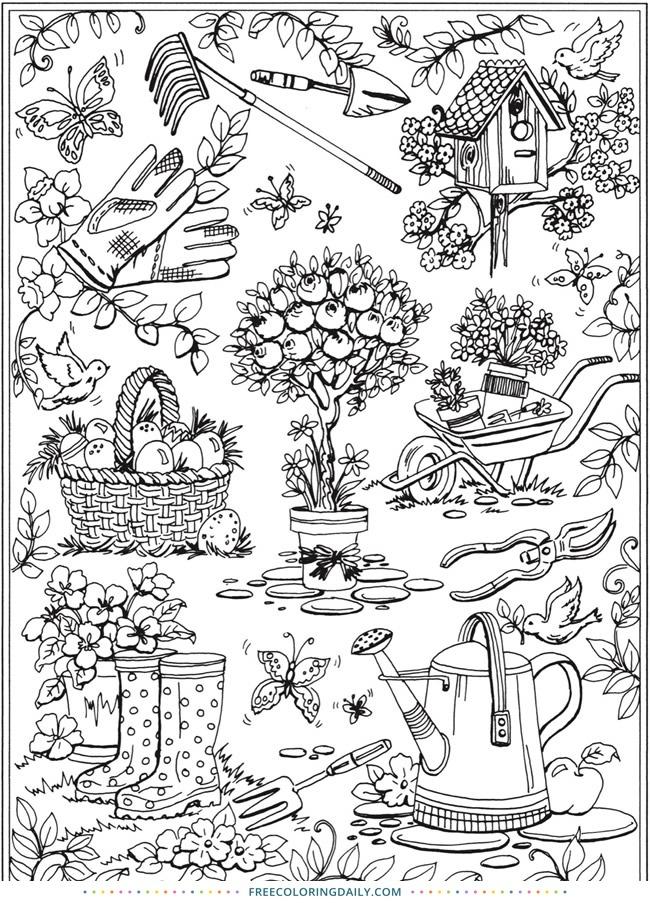 Free Happy Garden Coloring Page