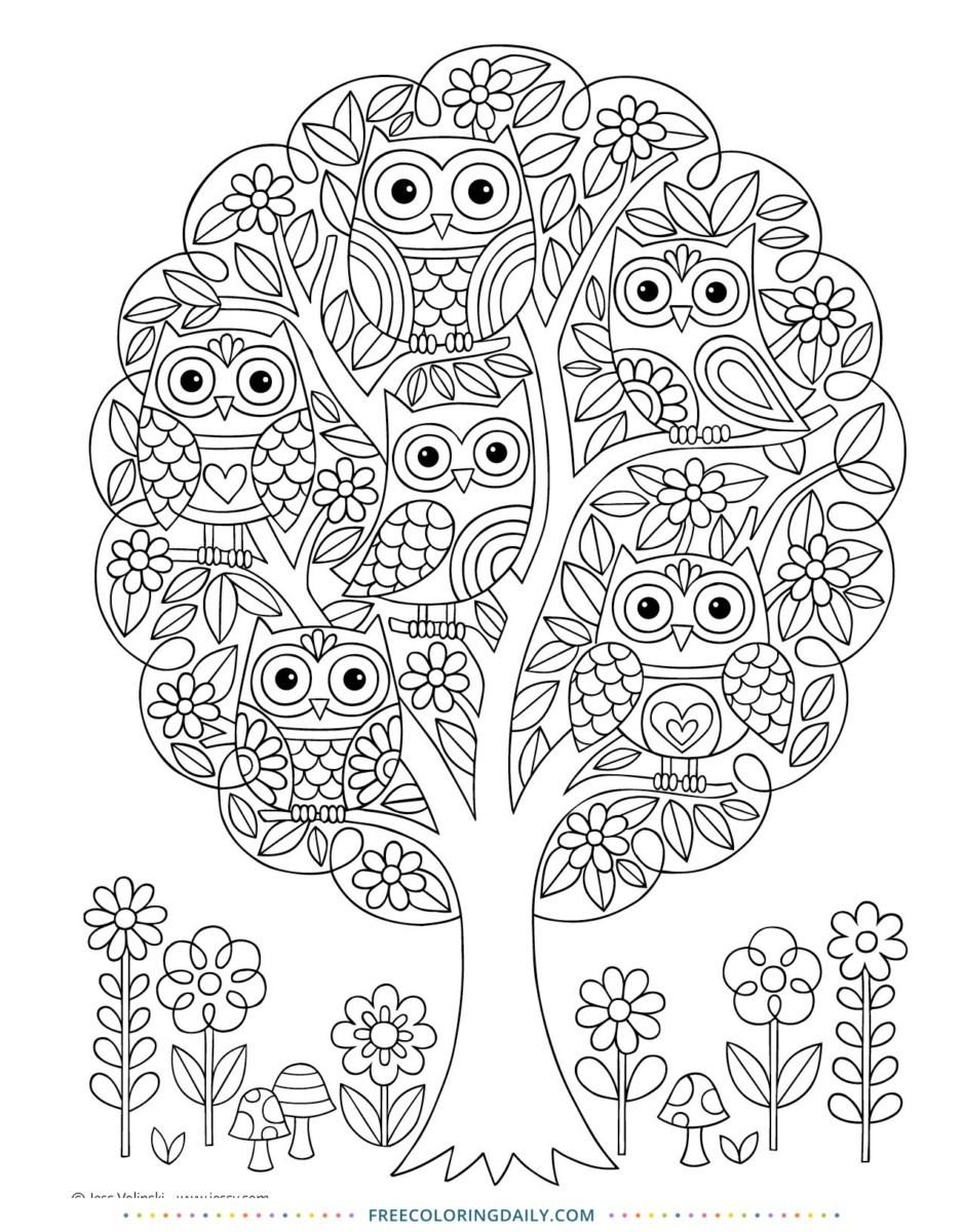 Free Owl Tree Coloring Page