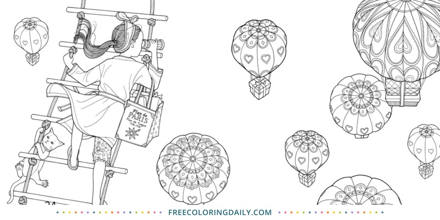 Free Hot Air Balloon Coloring
