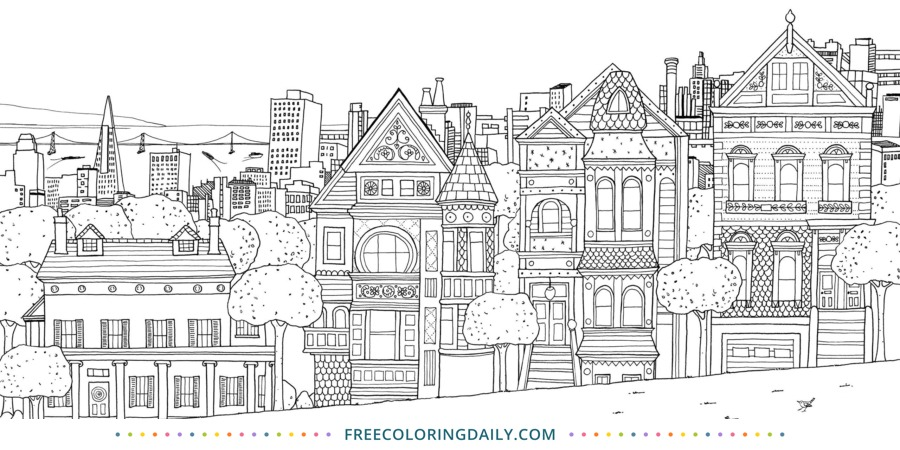 Free Victorian Houses Coloring