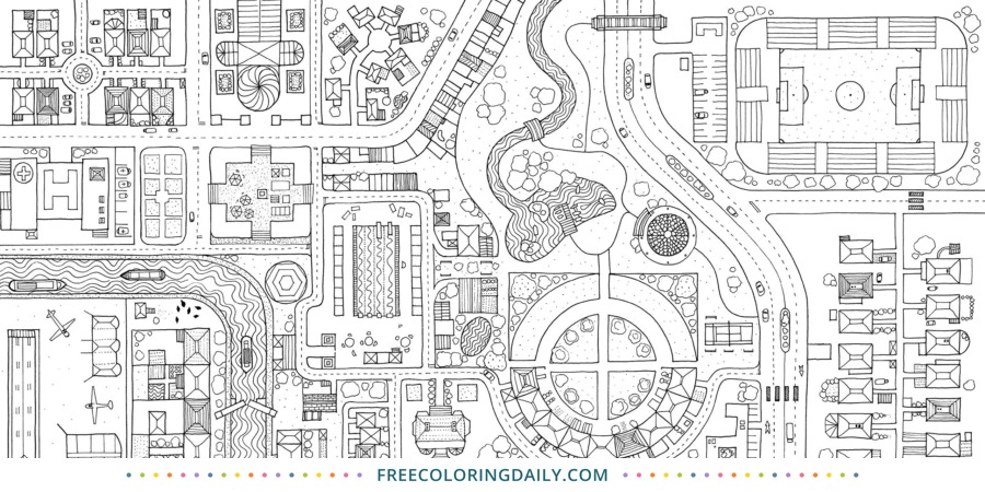 Free City Map Coloring Page