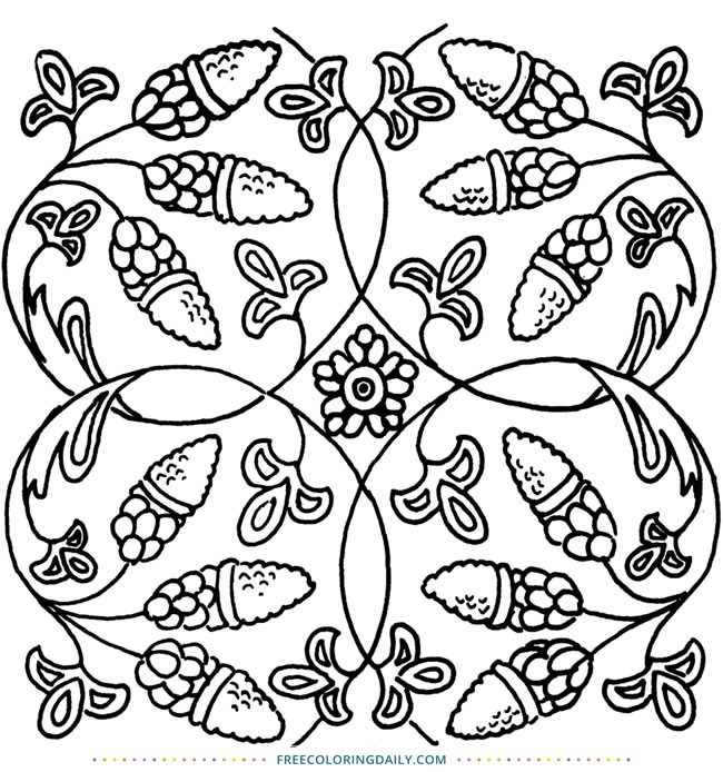 Free Antique Pattern Coloring