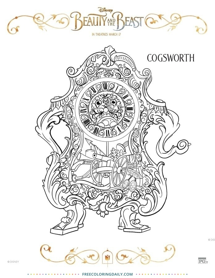 Free Cogsworth Coloring Page