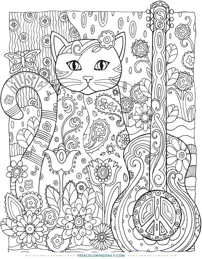 Guitar Cat Free Coloring