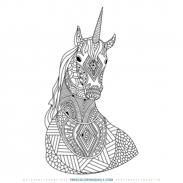 Free Patterned Unicorn to Color