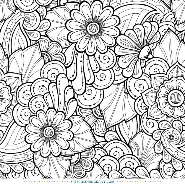 Free Coloring Printable Floral Swirls