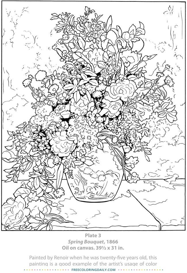 Free Renior Floral Coloring