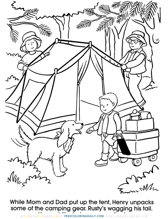 Fun Camping Day Coloring Page