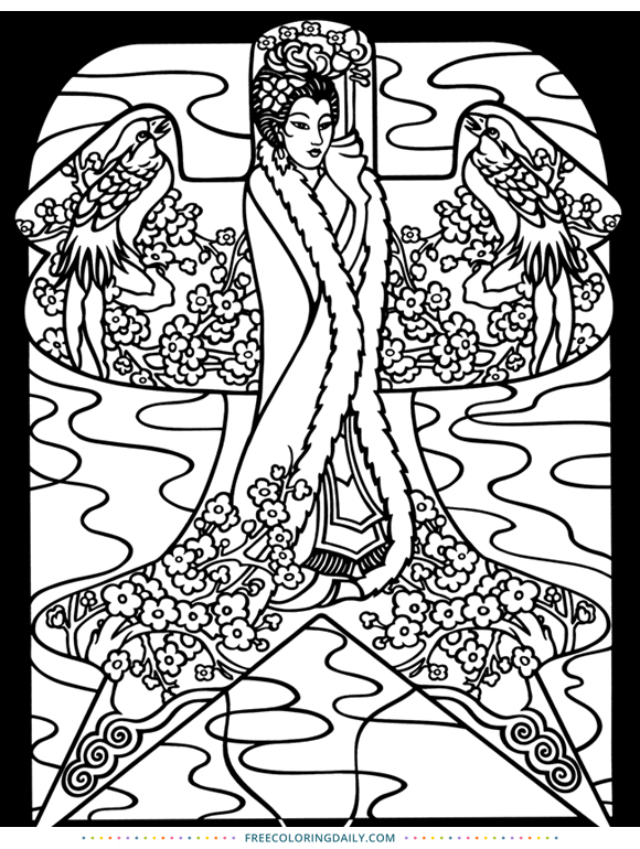 Free Asian Coloring Page