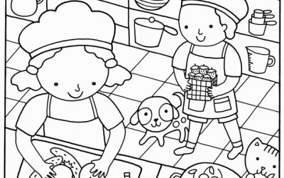 Free Kids Baking Coloring