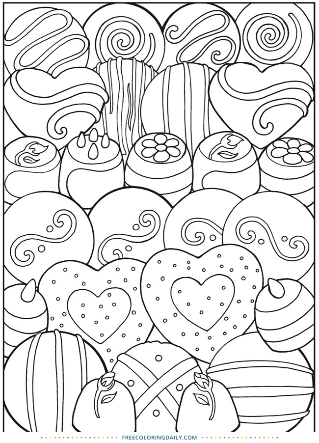 Free Valentine Chocolates Coloring