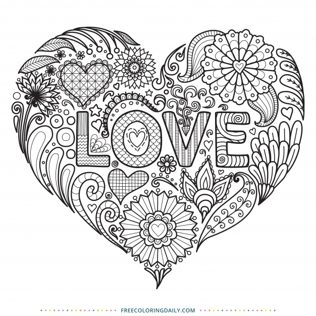 Amazing LOVE Free Coloring Page