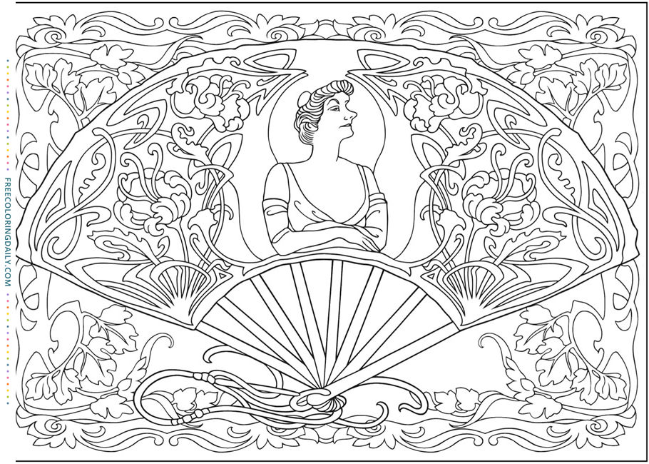 Free Vintage Fan Coloring Page