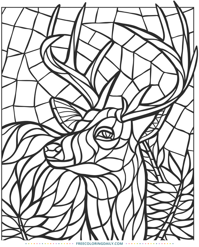 Free Deer Stained Glass Coloring