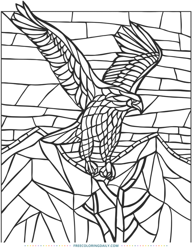 Free Stained Glass Bird Coloring