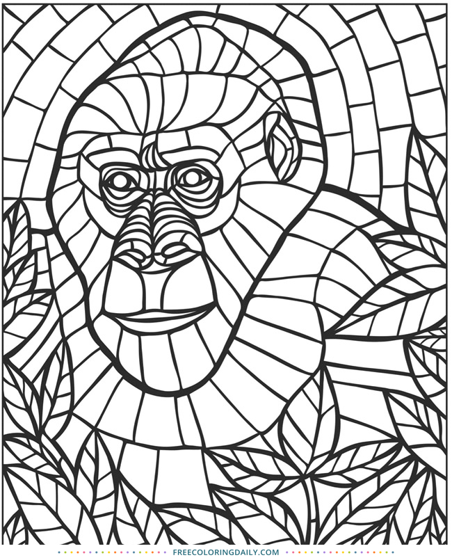 Free Stained Glass Animal Coloring