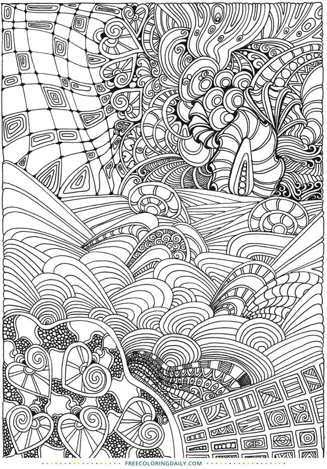 Free Zentangle Coloring Sheet