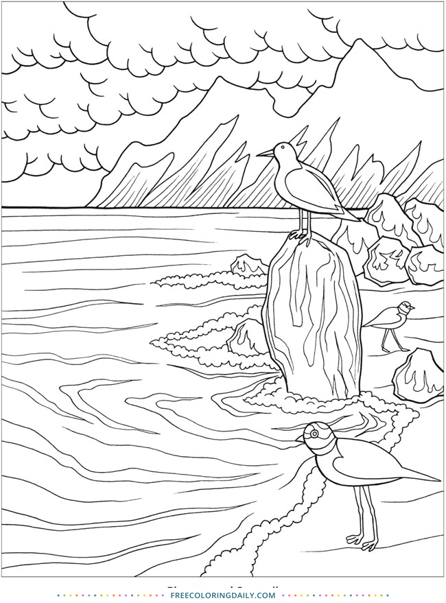 Free Seashore Coloring Sheet
