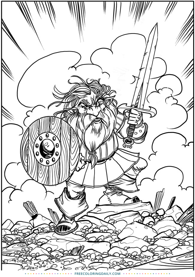 Free Viking Warrior Coloring
