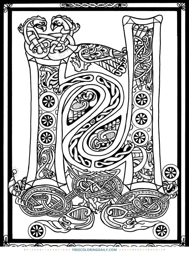 Free Celtic Letter Coloring
