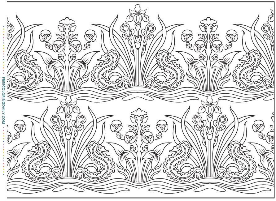 Free Foliage Pattern Coloring