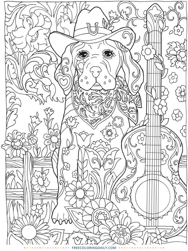 Free Dog and Guitar Coloring