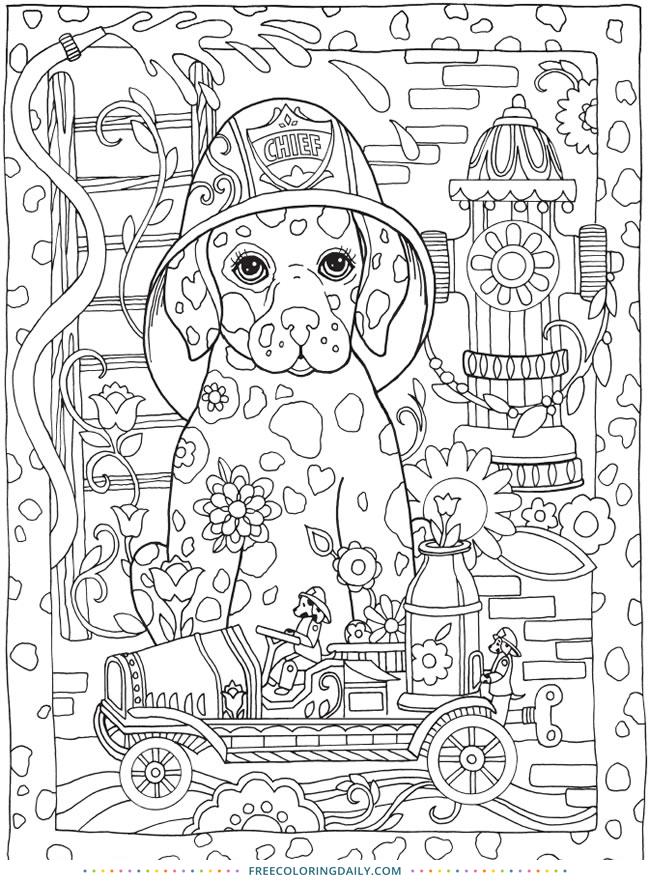 Fireman Dog Free Coloring
