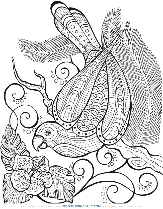 Free Coloring Patterned Bird