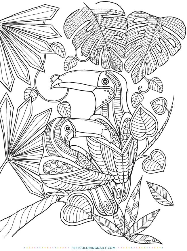 Free Printable Tropical Coloring