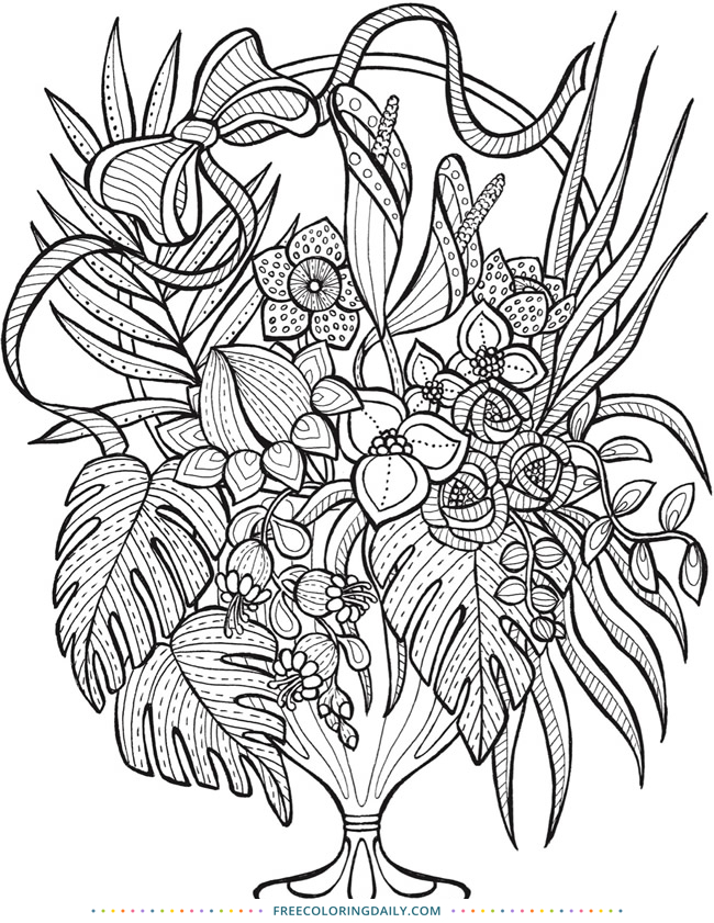 Free Coloring Floral Arrangement