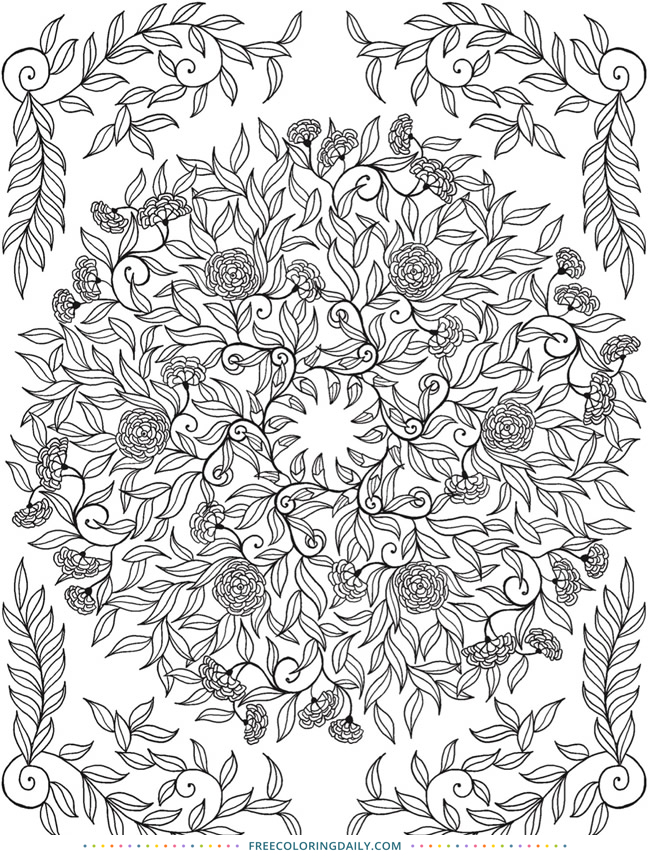 Free Holiday Foliage Coloring Page