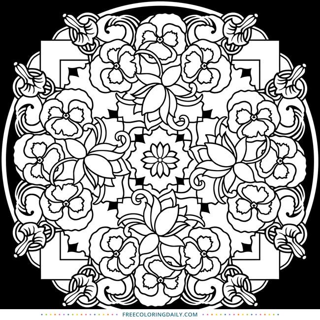 Free Floral Mandala Coloring