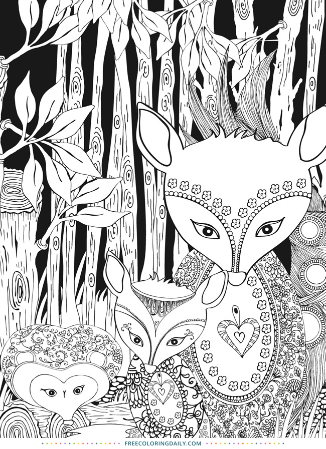 Free Forest Foxes Coloring