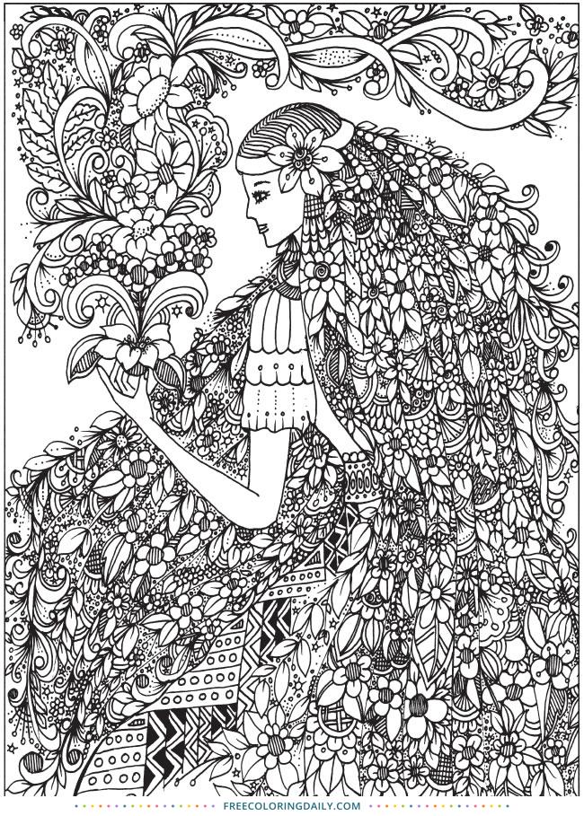 Free Flower Girl Amazing Coloring Sheet