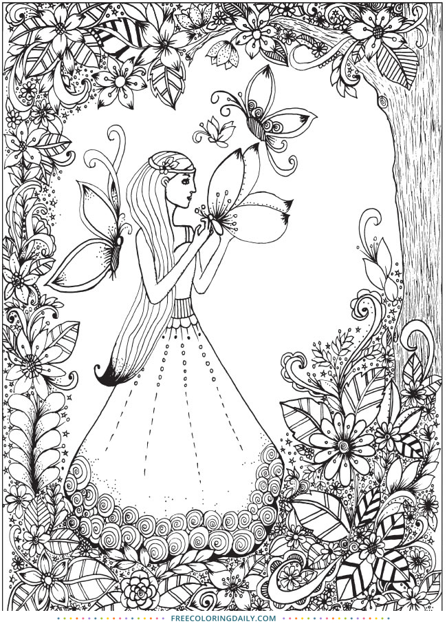 Butterfly Girl Free Coloring Page