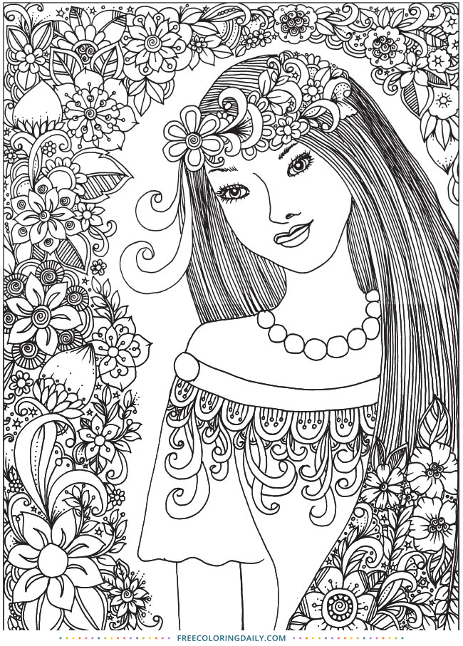 Lovely Lady Floral Free Coloring Page