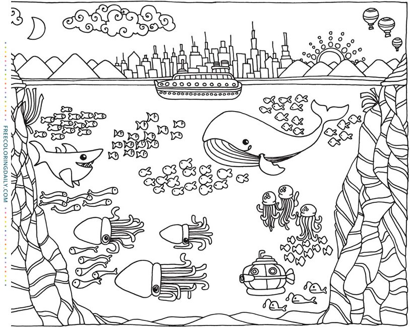 Underwater Fun Free Coloring Page