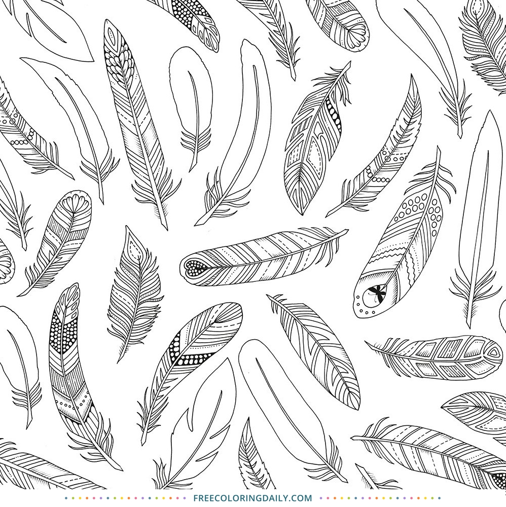 Free Bohemian Feather Coloring