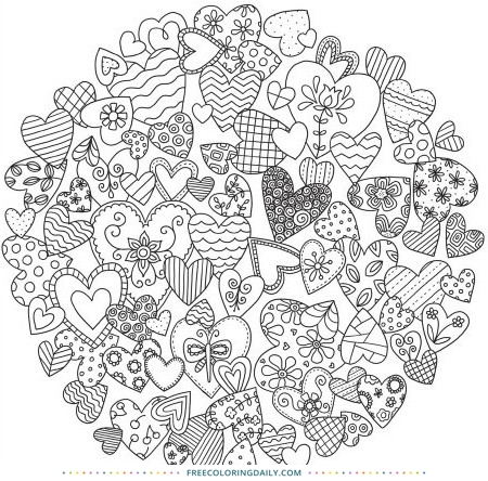 Circle of Hearts Free Coloring