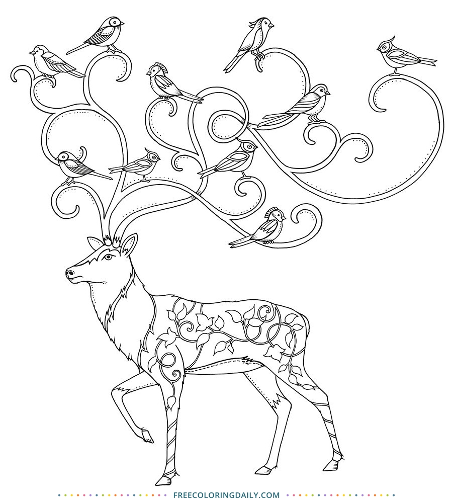 Free Reindeer with Birds Coloring