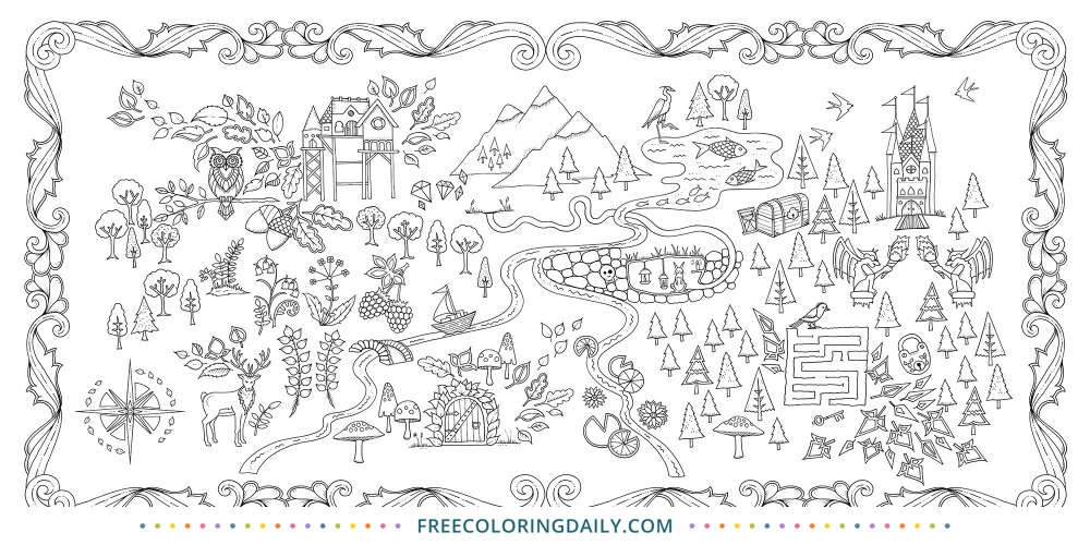 Free Forest Map Coloring Page