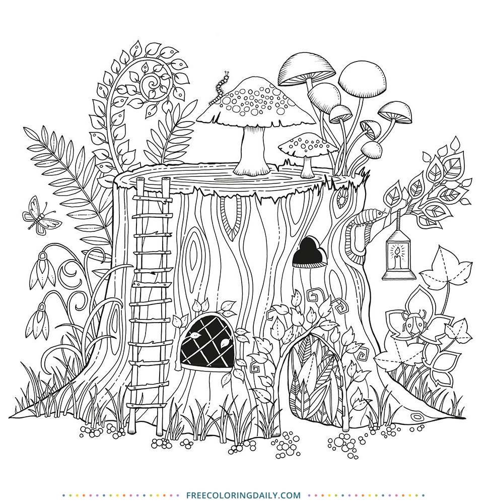 Free Fairy House Coloring Page
