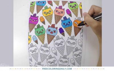 Cat Ice Cream Coloring Video