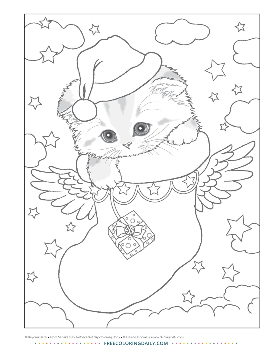 Free Christmas Stocking Cat Coloring