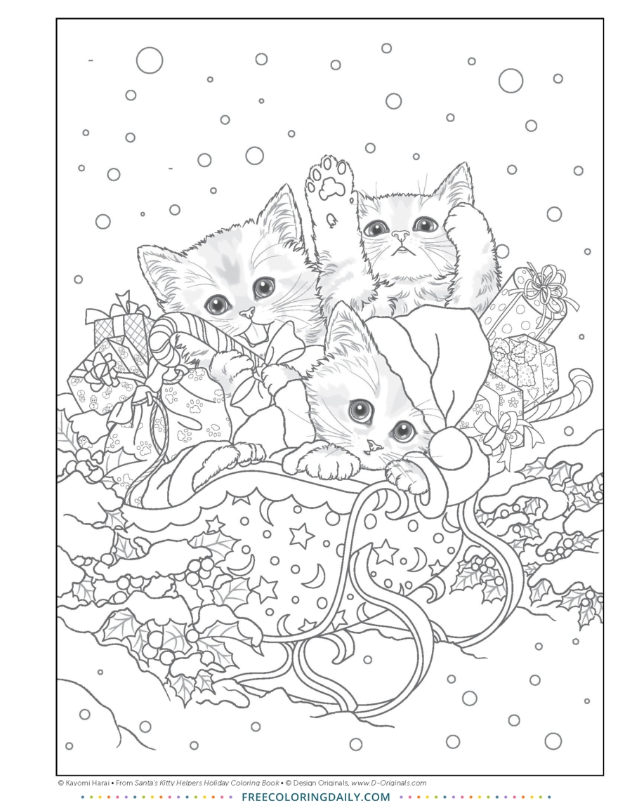 Free Christmas Kittens Coloring
