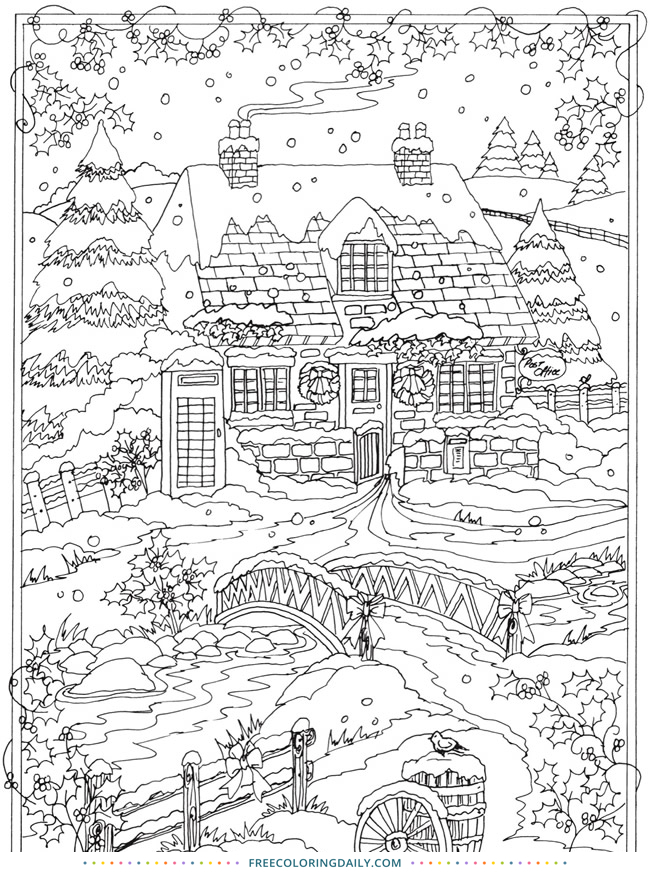 Snowy Scene – Free Coloring Page