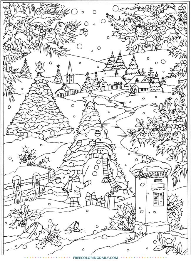 Free Snowy Winter Scene Coloring