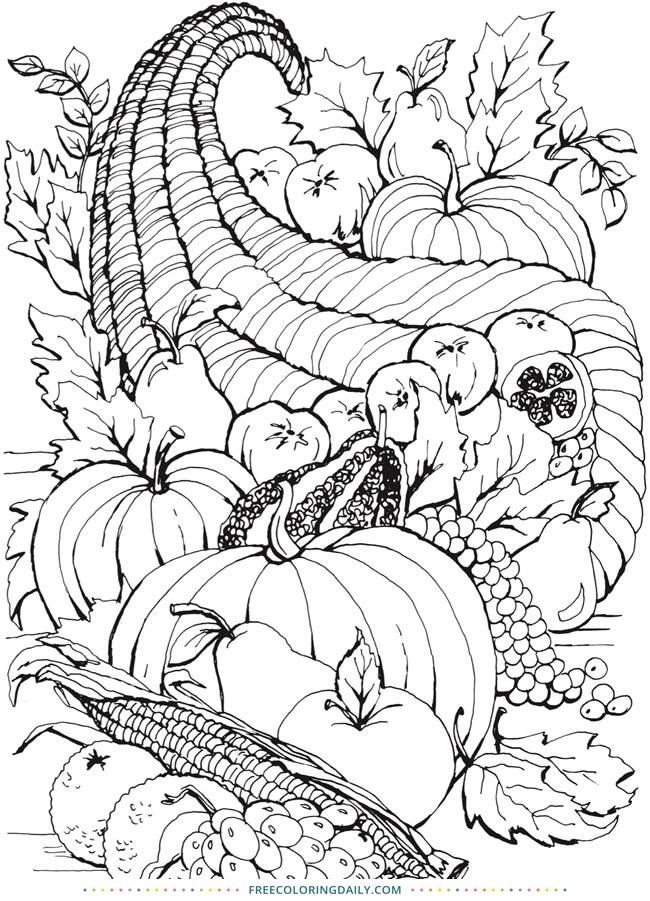 Free Cornucopia Coloring Page